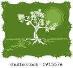 tree  green background  vector... | Shutterstock .eps vector #1915576