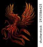 phoenix. color  graphic ... | Shutterstock .eps vector #1915586425