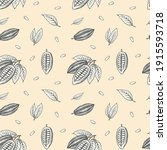seamless pattern of cocoa beans ... | Shutterstock .eps vector #1915593718