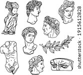 set of antique marble heads of...   Shutterstock .eps vector #1915612828