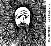 graphic face of a bearded and... | Shutterstock .eps vector #1915637242