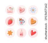 valentines day vector round... | Shutterstock .eps vector #1915657162