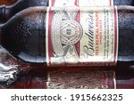 Small photo of IRVINE, CALIFORNIA - MARCH 10, 2018: Budweiser 1933 Repeal Reserve Amber Lager. Budweiser is releasing the Prohibition era recipie to celebrate the acts repeal.