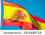 Spainish National Flag Waving...