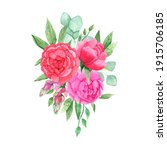 watercolor bouquet with bright...   Shutterstock . vector #1915706185