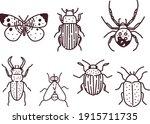 big hand drawn line set of... | Shutterstock .eps vector #1915711735