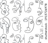 pattern with surreal faces. one ...   Shutterstock .eps vector #1915726978