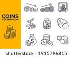 set of coins icon. money coin... | Shutterstock .eps vector #1915796815