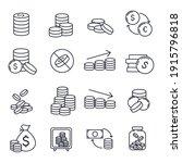 set of coins icon. money coin... | Shutterstock .eps vector #1915796818