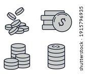 set of coins icon. money coin... | Shutterstock .eps vector #1915796935