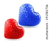 Red and blue strawberry hearts. Symbol of woman and man. Feeling and relationships - stock vector