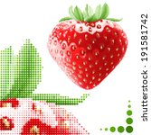 Halftone strawberry background. Fresh appetizing berries in embroidery style - stock vector