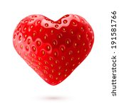 Shiny strawberry heart isolated on white background - stock vector