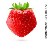 Fresh strawberry isolated on white background. Realistic illustration - stock vector