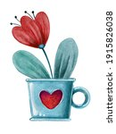 Watercolor Blue Cup With Flower....