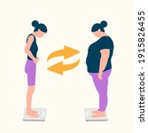 body positive woman. vector... | Shutterstock .eps vector #1915826455