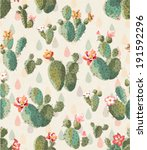 seamless cute cactus print... | Shutterstock .eps vector #191592296