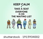 a queue of seated people... | Shutterstock .eps vector #1915934002
