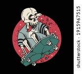skull horror playing skateboard ... | Shutterstock .eps vector #1915967515
