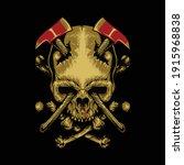 skull axes horror graphic... | Shutterstock .eps vector #1915968838