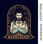 barbershop vintage label with... | Shutterstock .eps vector #1915971658