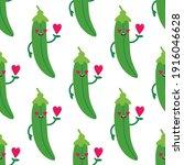 cute green peas pod character... | Shutterstock .eps vector #1916046628