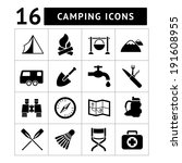 set icons of camping isolated... | Shutterstock .eps vector #191608955