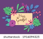 happy easter lettering with... | Shutterstock .eps vector #1916094325