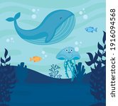 underwater world with whale...   Shutterstock .eps vector #1916094568