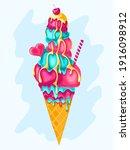 pink strawberry  mint  cherry ...   Shutterstock .eps vector #1916098912