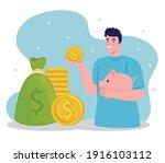 man lifting piggy savings money ...   Shutterstock .eps vector #1916103112