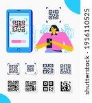 capture qr code on mobile phone.... | Shutterstock .eps vector #1916110525