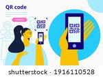 capture qr code on mobile phone.... | Shutterstock .eps vector #1916110528