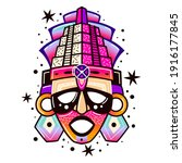 maya culture mask. ethnic...   Shutterstock .eps vector #1916177845
