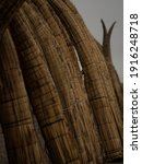 Small photo of Closeup of traditional peruvian caballito de totora Balsa reed fishing boat raft canoe on Pimentel Beach Lambayeque Peru in South America