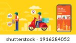 food delivery banner design ... | Shutterstock .eps vector #1916284052
