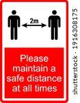 please maintain 2 meter safe... | Shutterstock .eps vector #1916308175