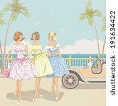 Three Elegant Women Walking...
