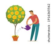businessman with watering can... | Shutterstock .eps vector #1916365562