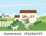 gardener cutting green bush...   Shutterstock .eps vector #1916366195