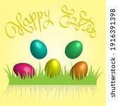 easter eggs 3d in shiny bright... | Shutterstock .eps vector #1916391398