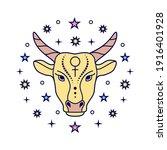 taurus zodiac sign on white...   Shutterstock .eps vector #1916401928