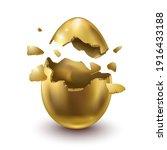 golden egg  child's surprise... | Shutterstock .eps vector #1916433188