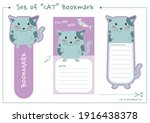 Set Of Cat Bookmark For Print...