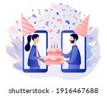 online party. tiny people with... | Shutterstock .eps vector #1916467688