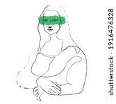mona lisa. painting in the... | Shutterstock .eps vector #1916476328