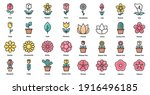 flower icons color set vector... | Shutterstock .eps vector #1916496185