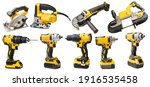 Small photo of Electric tool set cordless rechargeable screwdrivers , Angle Grinder,circular saws ,cordless band saws,Portable Band Saw on white background