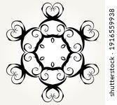 ornate doodle round rosette in... | Shutterstock . vector #1916559938