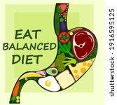 eat balanced diet poster  ... | Shutterstock .eps vector #1916595125